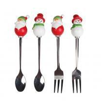 Kit 2 Garfos + 2 Colheres Papai Noel Mesa de Natal Colorido - Cromus