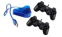Kit  2 joystick p/ ps2 e conversor pc usb - Oem