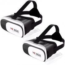 Kit 2 Óculos Vr Box 2.0 3D Realidade Virtual P/ Celular Smartphone Andoid e Ios + Controle Bluetooth -