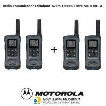 Kit 2 Pares Rádio Comunicador Talkabout 32km T200BR Cinza MOTOROLA -