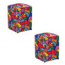 Kit 2 Puff Dado Decorativo Decor Magazine Estampa D-22 - Romero Brito - Decor Magazine