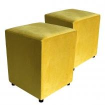 Kit 2 Puffs Decorativo Quadrado Suede Amarelo - Place decor
