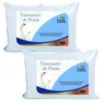 Kit 2 Travesseiros Pluma de Ganso 50x70cm Casa Dona 200 Fios Branco - Casa dona
