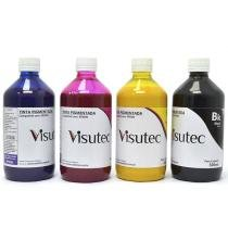 Kit 2l de tinta pigmentada para epson e brother (500ml de cada cor) - Visutec