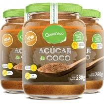 Kit 3 açúcar de coco natural qualicôco 280g -