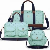 Kit 3 Bolsas Maternidade Classic For Baby Bags Navy Sarja - Azul Bebê -