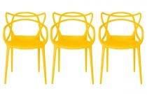 Kit 3 Cadeiras Cozinha Design Allegra Amarela - MY SHOP BRASIL