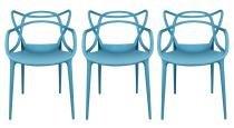 Kit 3 Cadeiras Cozinha Design Allegra Azul Claro - MY SHOP BRASIL