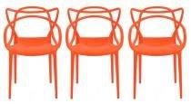 Kit 3 Cadeiras Cozinha Design Allegra Laranja - MY SHOP BRASIL
