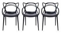 Kit 3 Cadeiras Cozinha Design Allegra Preta - MY SHOP BRASIL