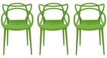 Kit 3 Cadeiras Cozinha Design Allegra Verde - MY SHOP BRASIL