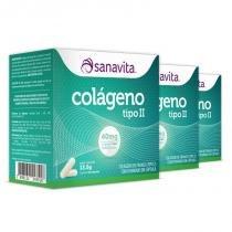 Kit 3 colágeno tipo 2 ii 40mg sanavita 30 cápsulas -