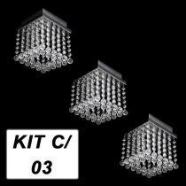 Kit 3 Lustres Cristal Acrílico Esfera Quadrado - Hunter