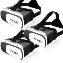 Kit 3 Óculos Vr Box 2.0 3D Realidade Virtual P/ Celular Smartphone Andoid e Ios + Controle Bluetooth -