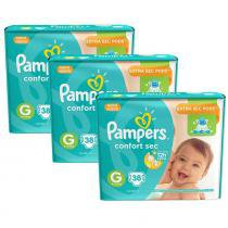 Kit 3 Pcts Pampers ConfortSec - Tam. G - 114 Unds -