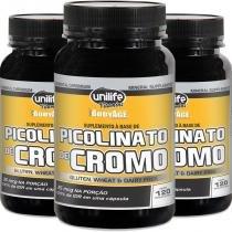 Kit 3 Picolinato de Cromo Unilife 120 Cápsulas -