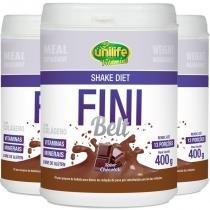Kit 3 shake diet com colágeno fini belt unilife chocolate 400g -