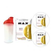 Kit 3X Albumax 500g Chocolate + Coqueteleira- Max Titanium -