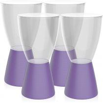 Kit 4 banquetas Carbo assento cristal base color roxo - Im In
