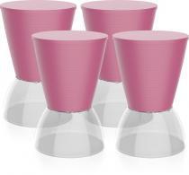 Kit 4 banquetas Nick assento color base cristal rosa - Im In