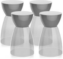 Kit 4 banquetas Rad assento cristal base color cinza - Im In