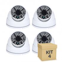 Kit 4 Câmera Segurança de LED Dome Infravermelho AHD 36 LEDs 1200TVL - Iluminim led