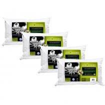 Kit 4 Peças Travesseiro Íons de Prata Fibra Integralmente Lavável Para Fronhas 50x70 cm - Branco - Fibrasca