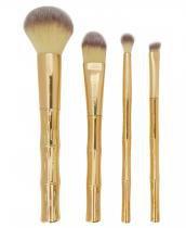 Kit 4 Pincéis Para Maquiagem Bambu Dourado Miss Frandy -