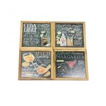 e51d3d00630 Kit 4 Quadros Decorativos Parede Madeira Mdf 20x20 Drinks - Maisaz