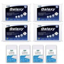 Kit 4 Travesseiros Nasa Galaxy + 4 Capas Impermeáveis em Percal 200 Fios - Nap