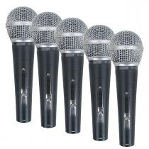 Kit 5 microfones c/ fio de mão csr 48-5 - csr - Csr
