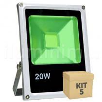 Kit 5 Refletor Holofote LED 20w Verde - Iluminim led