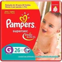 Kit - 6 Pacotes - Pampers Supersec G - 156 Unid. -