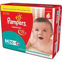 Kit - 6 Pacotes - Pampers Supersec M - 180 Unid. -
