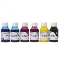 Kit 600ml de tinta pigmentada para epson e brother (100ml cada cor) - Visutec