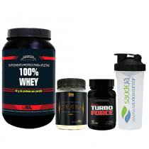 Kit Academia Whey Mix Chocolate Nitech + Super Turbo Force Intlab + Creatina Golden + Coqueteleira Saúdejá - Nitech nutrition