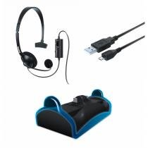 Kit Aces. P/ Ps4: Base Carga 2 Contr., Headset E Cabo Carga  Dreamgear DGPS4-6411 -