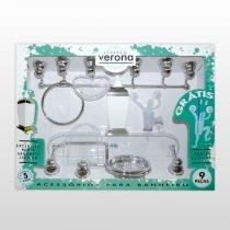 Kit Acessórios Para Banheiro Verona Aquaplás 9 Peças Cristal Cromado - AQUAPLAS