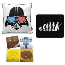 Kit Almofada Geek Side + Mouse Pad Geek Evolution + Porta Copos Geek Side Faces - Star Wars. - Yaay