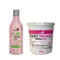 Kit American Trat Shampoo 500ml e Máscara Whey Protein 400g Leads Care -