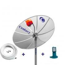 Kit Antena TV Parabolica Century com Antena 1,7m, LNBF Monoponto, Cabo, e Conectores -