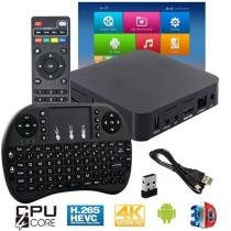 Kit Aparelho Conversor Smart Box Tv 8Gb + Teclado I8 Android 7.1 Exbom 4K HD Hdmi Usb Wifi -