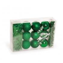 Kit Árvore de Natal Bola + Festão + Cordão 11 pçs Verde - Cromus