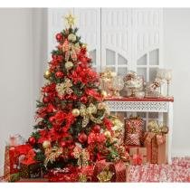 Kit Árvore De Natal Decorada 210Cm C/ 75 Enfeites + Pisca Pisca - Cromus