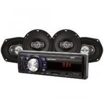 Kit Automotivo Mp3 One Multilaser Quatro Alto Falantes + Rádio Fm + Entrada SD E Usb + Função Relógio - AU955 - Multilaser