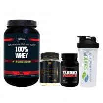 Kit Aux. Ganho Massa 100 Whey Nitech Morango + Creatina Golden + Super Turbo Force Intlab + Coqueteleira Transparente E Preta Saúdejá - Nitech nutrition