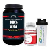 Kit Aux. Massa Muscular 100 Whey Nitech Morango + Testomaster Maca Intlab + Coqueteleira Transparente E Preta Saúdejá - Nitech nutrition