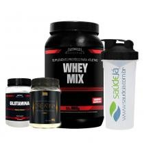 Kit Auxilia Imunidade Whey Mix Chocolate Nitech + Creatina Golden + Glutamina Nitech + Coqueteleira Saúdejá - Nitech nutrition