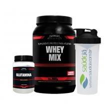 Kit Auxilia Imunidade Whey Mix Chocolate Nitech + Glutamina Nitech + Coqueteleira Saúdejá - Nitech nutrition