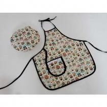 Kit Avental Infantil + Touquinha Mestre Cuca - Corujinha Bege - Recanto da costura